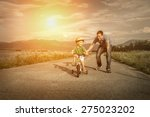 happiness father and son on the ... | Shutterstock . vector #275023202