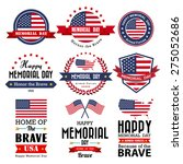 Stock vector happy memorial day vector greeting card badge and labels illustrator eps 275052686