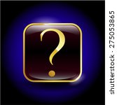 question mark gold shiny badge  | Shutterstock .eps vector #275053865