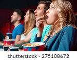 emotional film. excited blond... | Shutterstock . vector #275108672