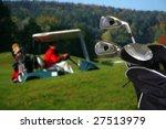 golf car with a golf bag | Shutterstock . vector #27513979