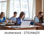 highschool students working on...   Shutterstock . vector #275146625
