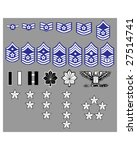 US Air Force rank insignia for officers and enlisted in vector format - stock vector