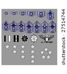 US Air Force rank insignia for officers and enlisted in vector format with texture - stock vector