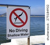 no diving shallow water sign | Shutterstock . vector #275184932