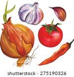 watercolour vegetable set  a... | Shutterstock .eps vector #275190326