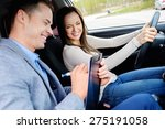 driving instructor and woman... | Shutterstock . vector #275191058
