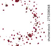 Stock photo red roses breeze curve with petals repeatable and isolated on white 275208068