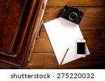 suitcase and old camera  tablet ... | Shutterstock . vector #275220032