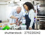 young girl learns to bake cakes ... | Shutterstock . vector #275220242