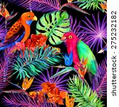tropical leaves  exotic flowers ... | Shutterstock . vector #275232182