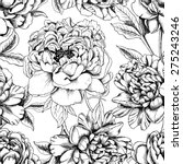 Stock vector seamless botanical floral pattern with images of a different peonies vector black and white 275243246