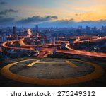 helicopter pad on top building... | Shutterstock . vector #275249312