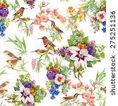 watercolor wild exotic birds on ... | Shutterstock . vector #275251136