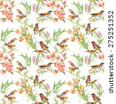 watercolor wild exotic birds on ... | Shutterstock . vector #275251352