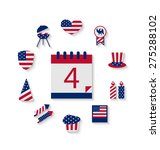 icons set usa flag color... | Shutterstock . vector #275288102