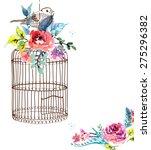 watercolor flowers and bird... | Shutterstock .eps vector #275296382