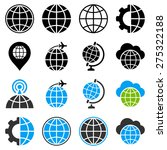 globe flat vector icons with... | Shutterstock .eps vector #275322188