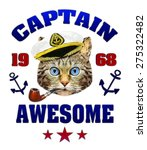 Постер, плакат: captain hat Funny illustration of
