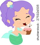 cartoon mermaid with muffin | Shutterstock .eps vector #275326535