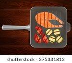 salmon steaks with vegetables... | Shutterstock .eps vector #275331812
