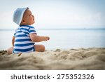 little baby boy sitting on the... | Shutterstock . vector #275352326