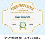 vector of certificate template | Shutterstock .eps vector #275385062