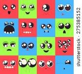 set of vector monster faces ... | Shutterstock .eps vector #275385152