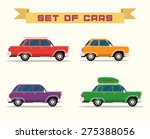 set with vintage cars  vector... | Shutterstock . vector #275388056
