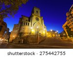 Wide angle shot of Cathedral  of San Juan de Albacete in evening time.  Spain