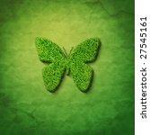 grass butterfly shape on green... | Shutterstock . vector #27545161