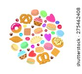 pastries  sweets and candies... | Shutterstock .eps vector #275462408