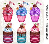 vintage cupcake collection... | Shutterstock .eps vector #275467022