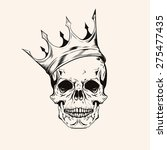 hand drawn sketch skull with... | Shutterstock .eps vector #275477435