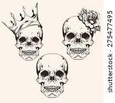 Hand Drawn Set Sketch Skulls...