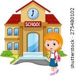 little girl going to school | Shutterstock . vector #275480102