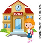 little girl going to school | Shutterstock .eps vector #275480126