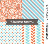 set of seamless patterns with... | Shutterstock .eps vector #275492276
