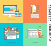 set of color line icons on the... | Shutterstock .eps vector #275509532