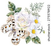 apollo butterfly  roses and... | Shutterstock .eps vector #275578922