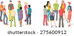 two groups of people meeting.... | Shutterstock .eps vector #275600912