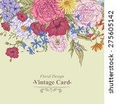 gentle retro summer floral... | Shutterstock .eps vector #275605142