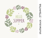 wreath of leaves. hello summer. | Shutterstock .eps vector #275644766