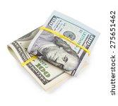 Hundred Dollar Bills Folded And ...