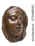 Small photo of Wooden Face of St Teresa of Avila Isolated on White