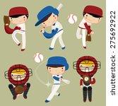 baseball kids character set.... | Shutterstock .eps vector #275692922