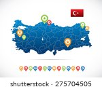 turkey map with flag and... | Shutterstock .eps vector #275704505