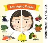 anti aging foods illustration ... | Shutterstock .eps vector #275733815