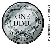 One Dime Coin On White...