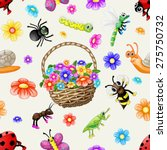 cute cartoon insects pattern | Shutterstock .eps vector #275750732